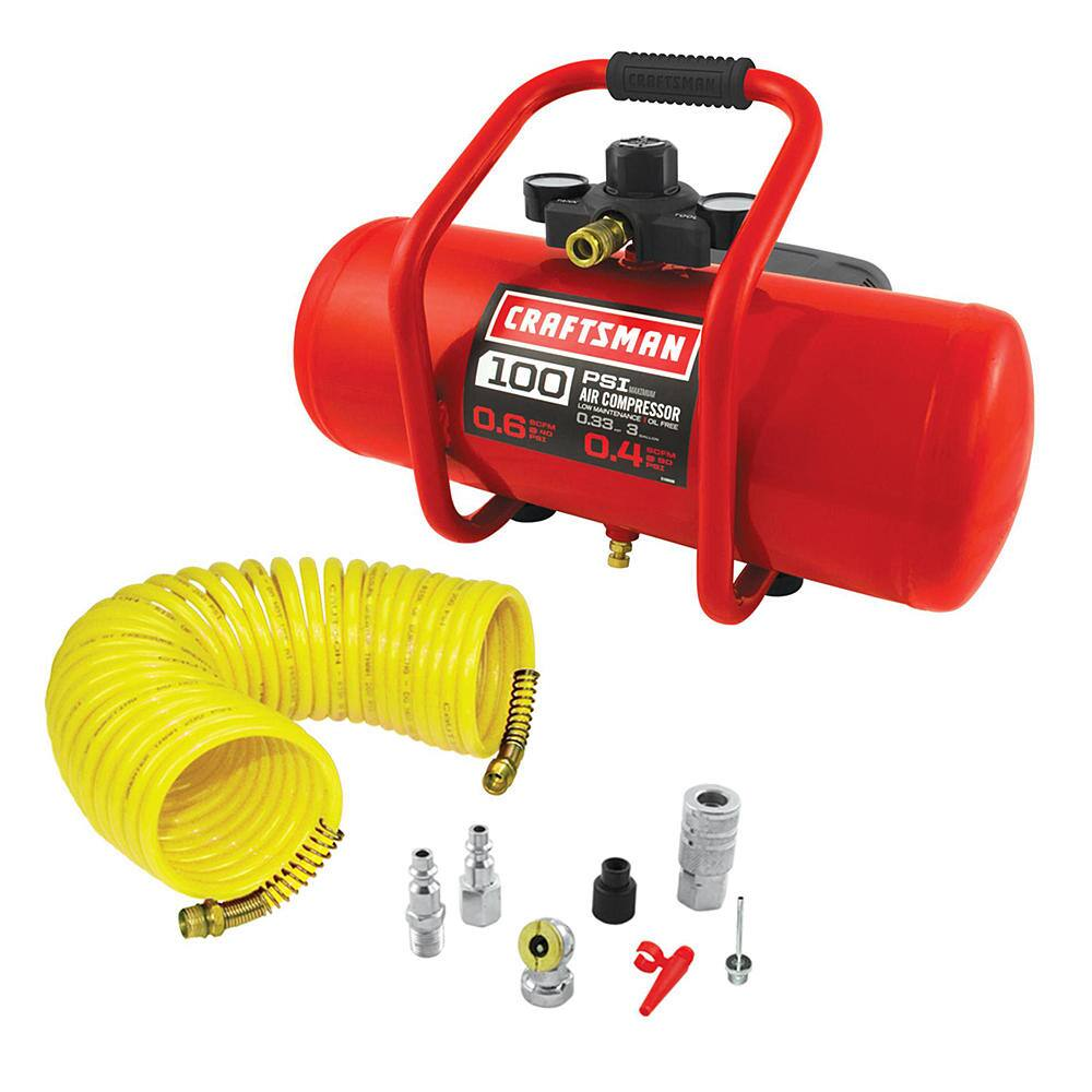 Half Off - Craftsman 3 Gallon Oil-Free Portable Electric Air Compressor with 7 Piece Accessory Kit $45 + $6.73 SWR Points W/Free Shipping or In-Store PU @ Sears Reg. $89.99