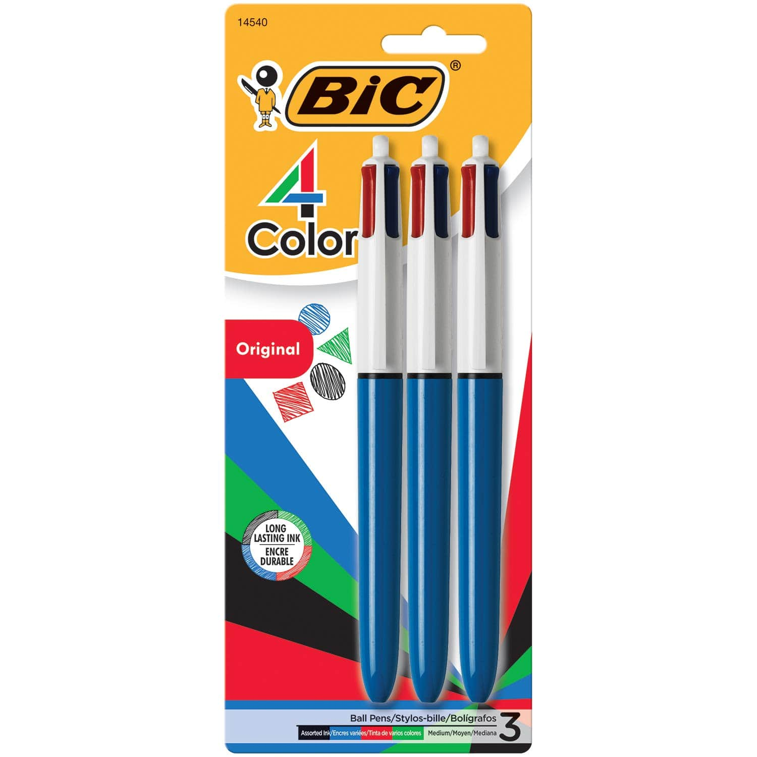 BIC 4-Color Ballpoint Pen, Medium Point (1.0mm), Assorted Inks, 3-Count $4.99+FS w/prime