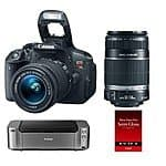 Canon EOS Rebel T5i DSLR w/ 18-55 & 55-250 STM Lenses + Pro 100 Printer & Paper $599 After $350 Rebate BuyDig