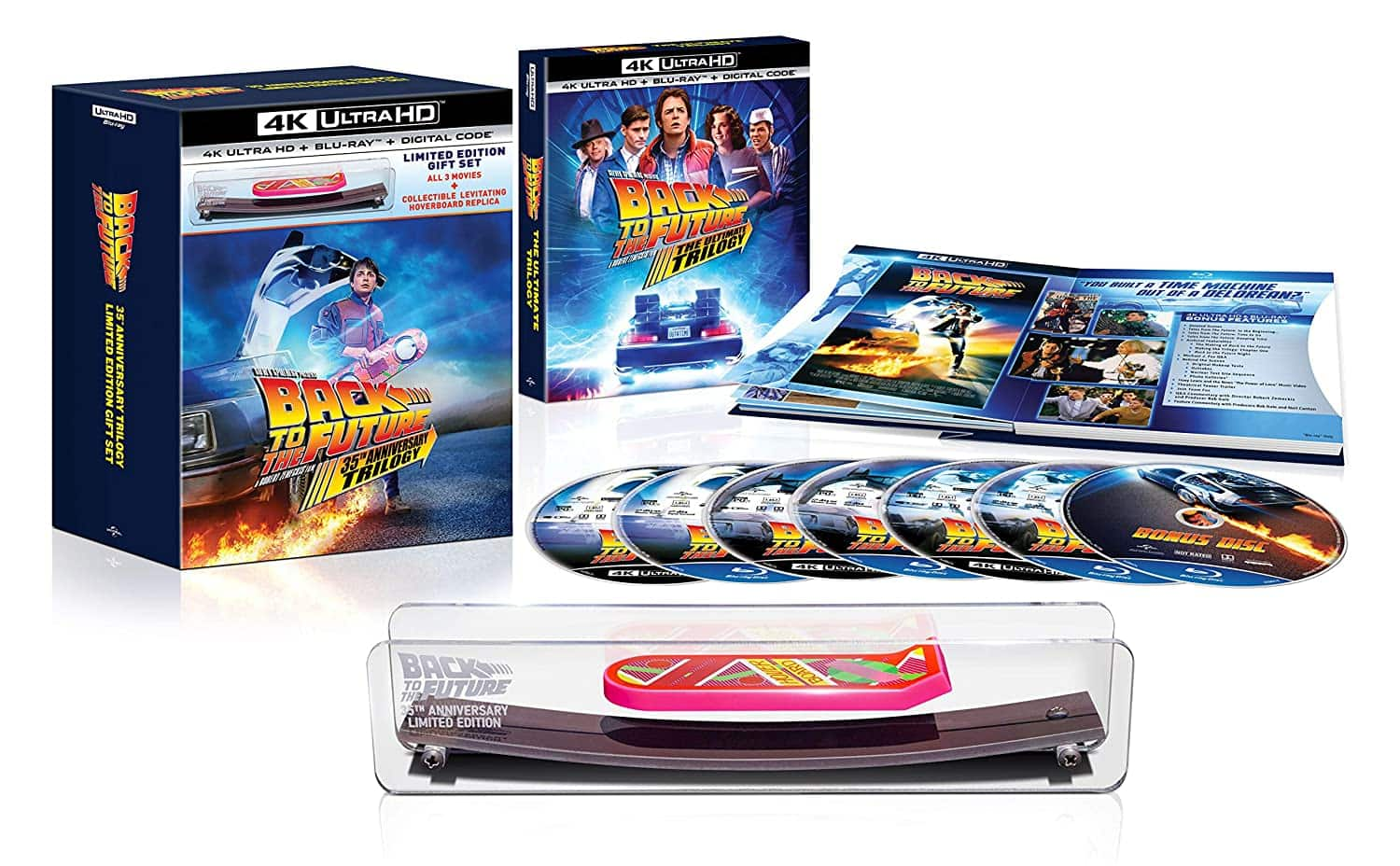 Back to The Future 4K UHD 35th Anniversary Giftset with Hoverboard- $80