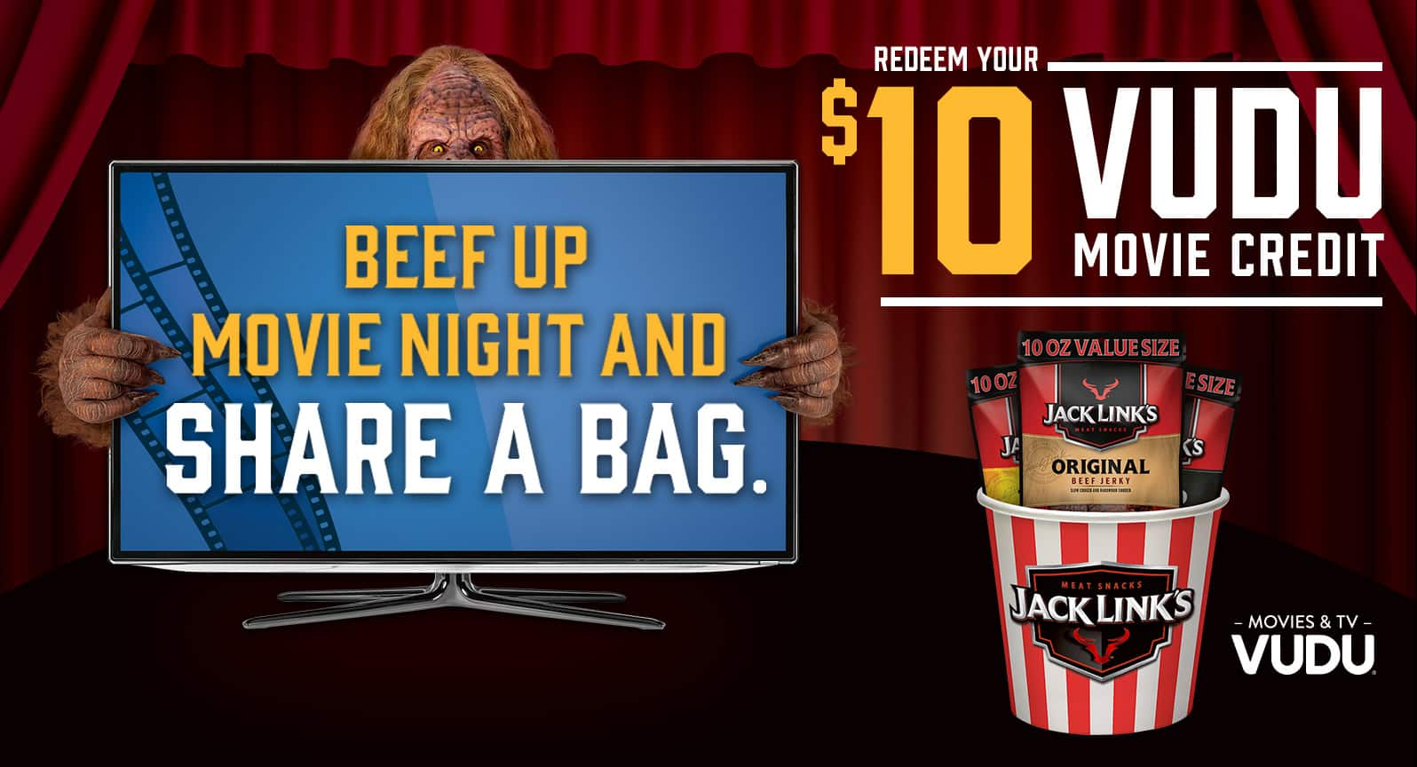Buy 10 oz Jack Links at Walmart, get $10 VUDU credit