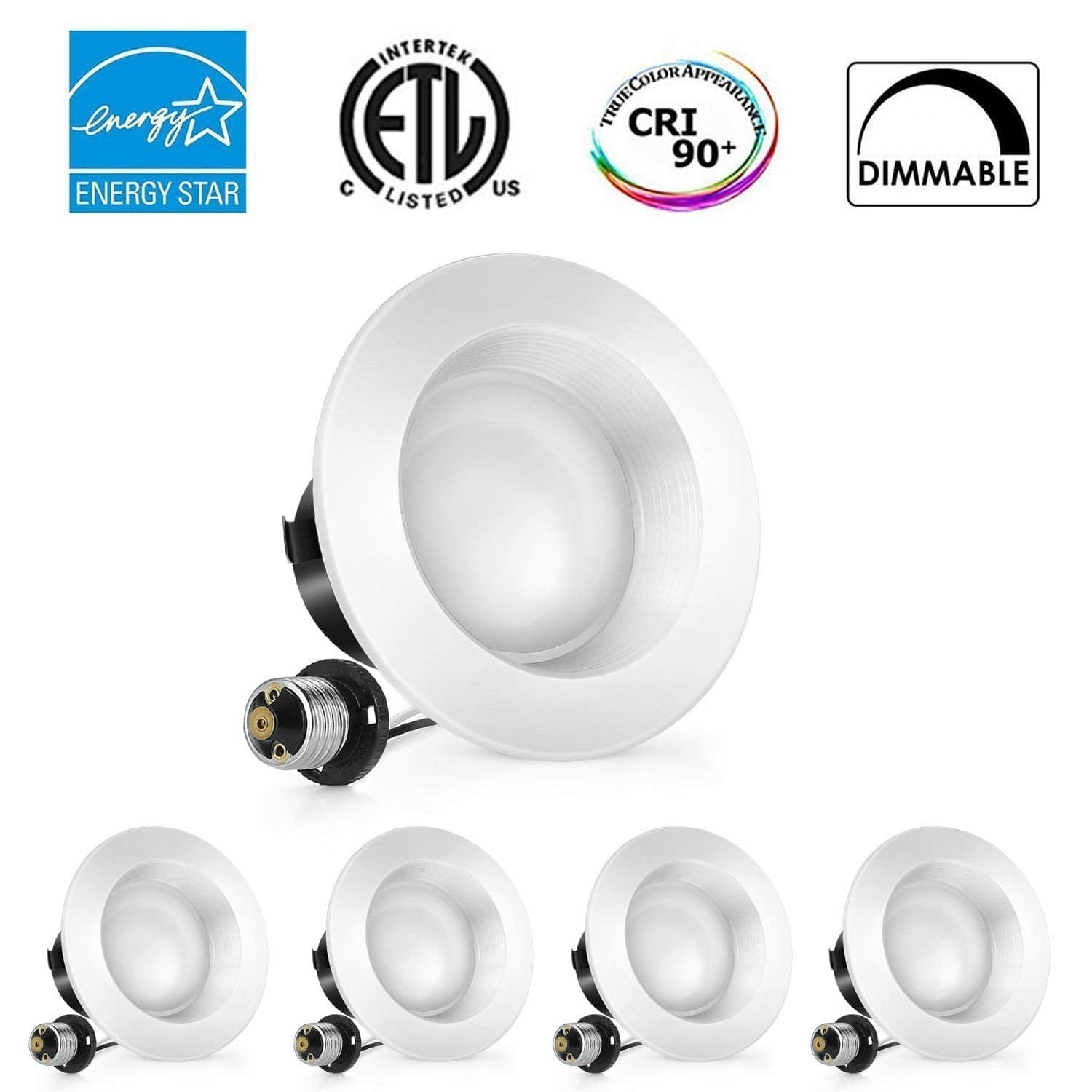 4-Pack 4 inch Dimmable LED Downlight, 100W Replacement 4000K or 5000K $19.19 $19.99