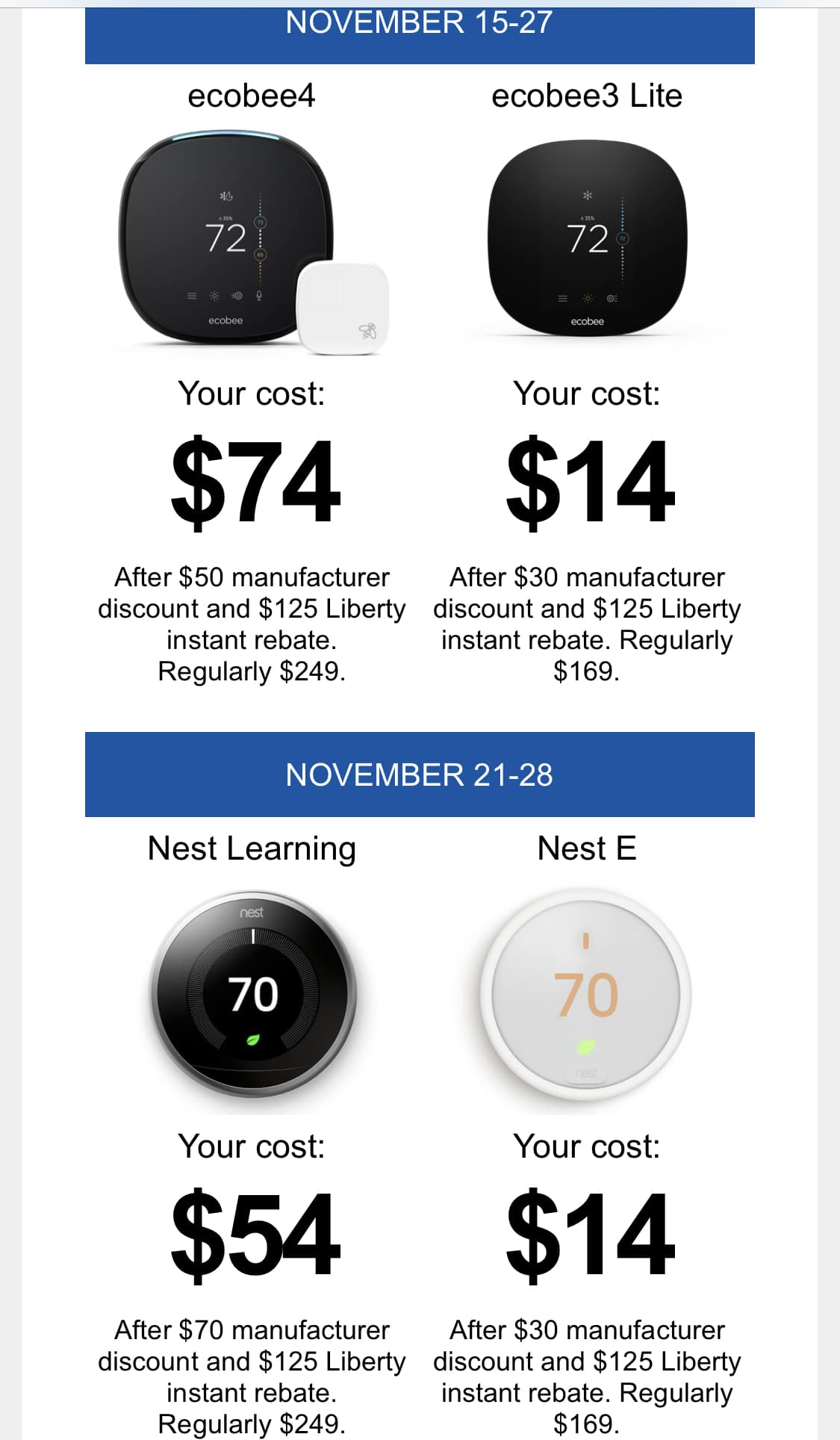 Nest and Ecobee Thermostats starting at $14