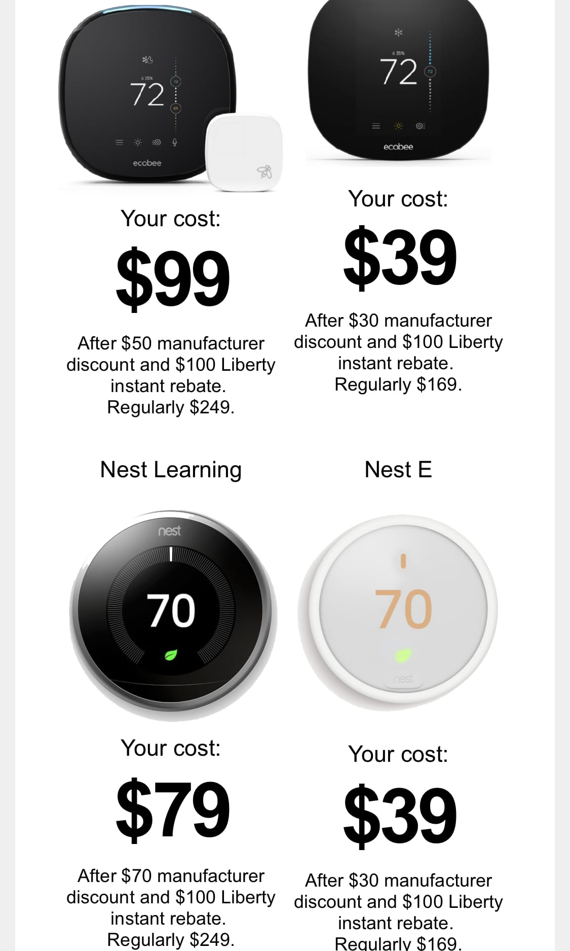 YMMV Liberty Utilities ongoing Black Friday sale Nest Learning Thermostat $79, Nest E $39