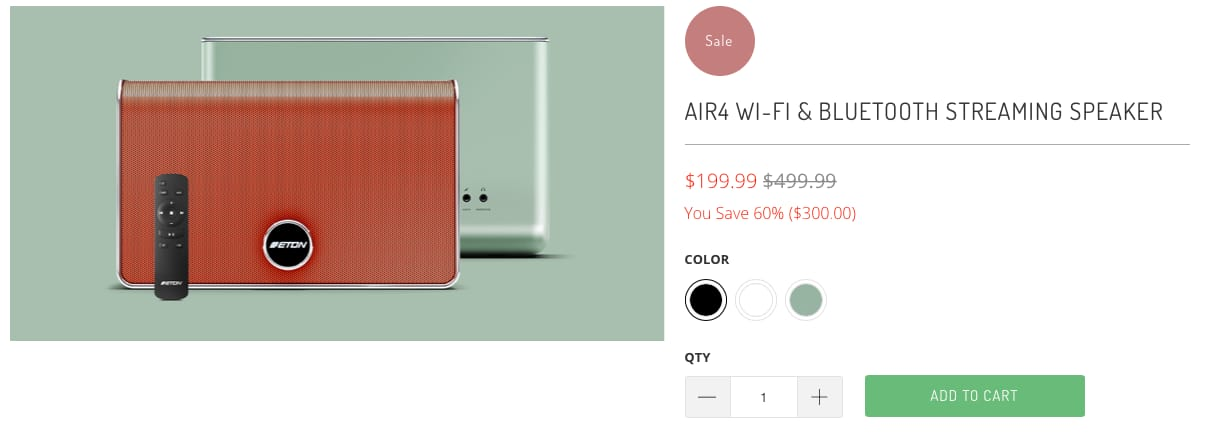 60% off Etón Air 4 speaker direct from Etón $199.85