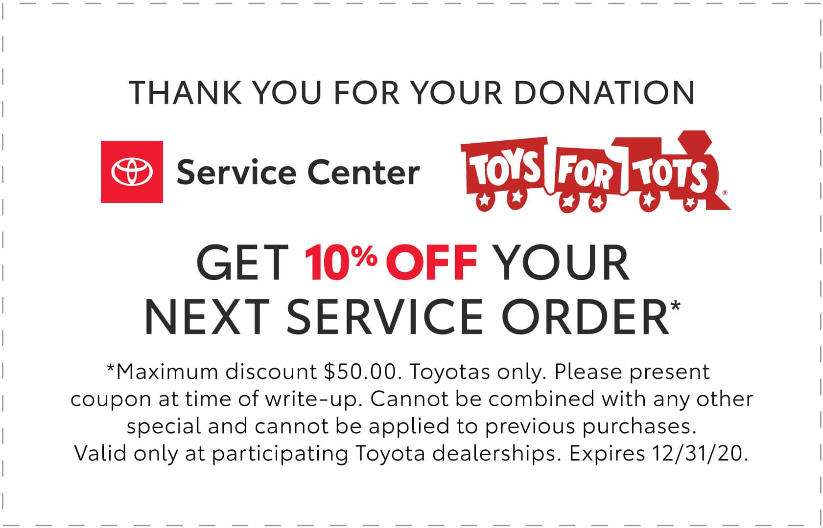 10% off Service at Toyota Dealership when You Donate Toy YMMV