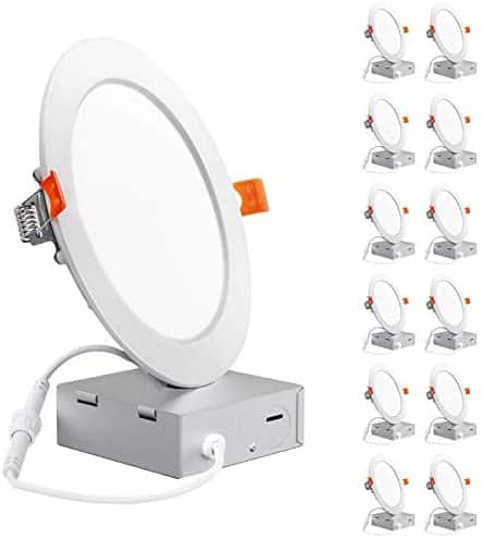 Freelicht 12 Pack 6 Inch Ultra-Thin LED Recessed Ceiling Light with Junction Box, 12W $61.59
