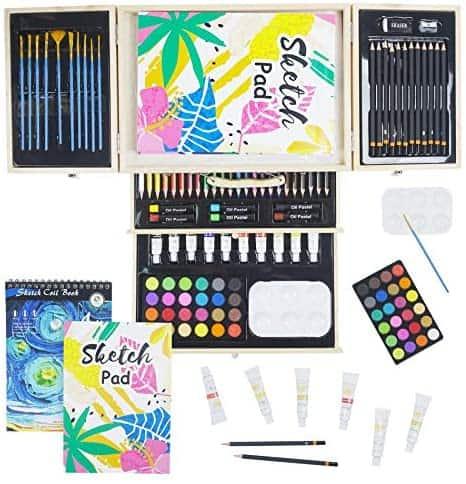 CONDA 93 Piece Professional Art Set with 3 x 50 Page Drawing Pad $19.99