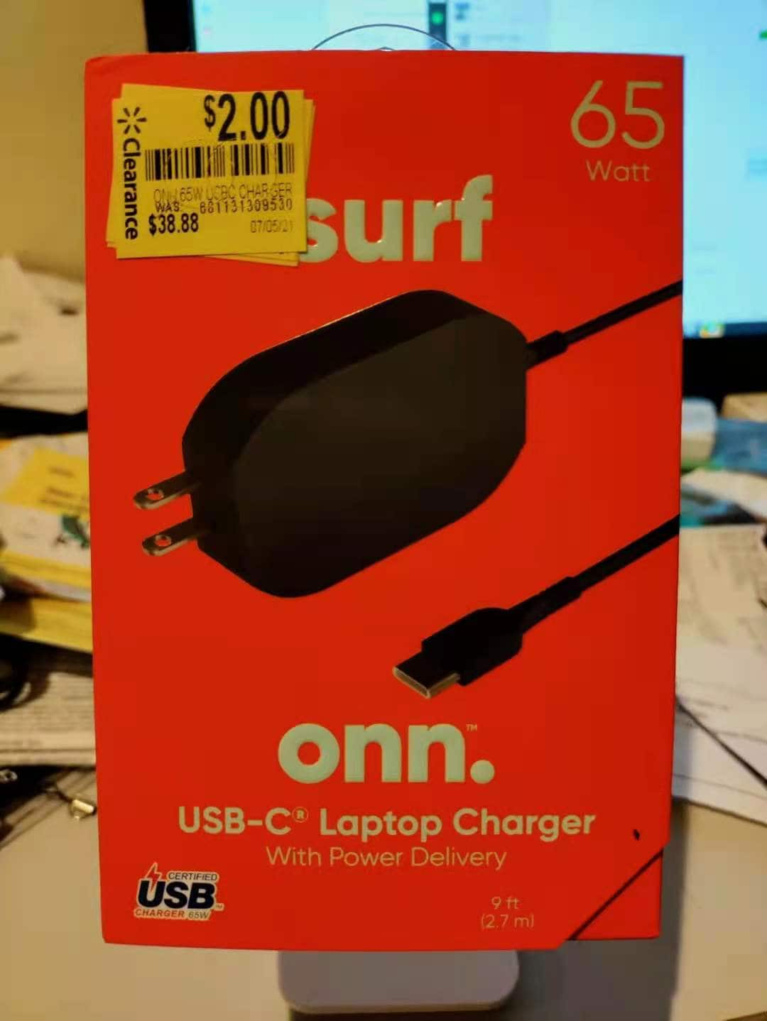 USB-C 65W Laptop/phone/pad Charger with PD (Power Delivery) onn $2 more or less in BM Walmart YMMV