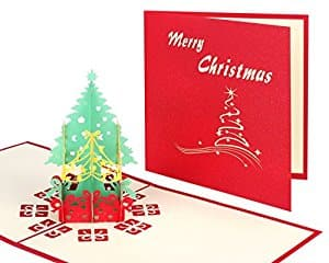 2 Pack Christmas Pop up Cards, Wimaha Christmas Tree Merry Christmas Card for Christmas Day New Year Greeting Gift Card - $6.29 AC FS