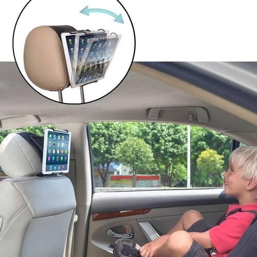 Universal Car Headrest Mount Holder with Angle- Adjustable Holding Clamp for Tablets - $10 AC FS