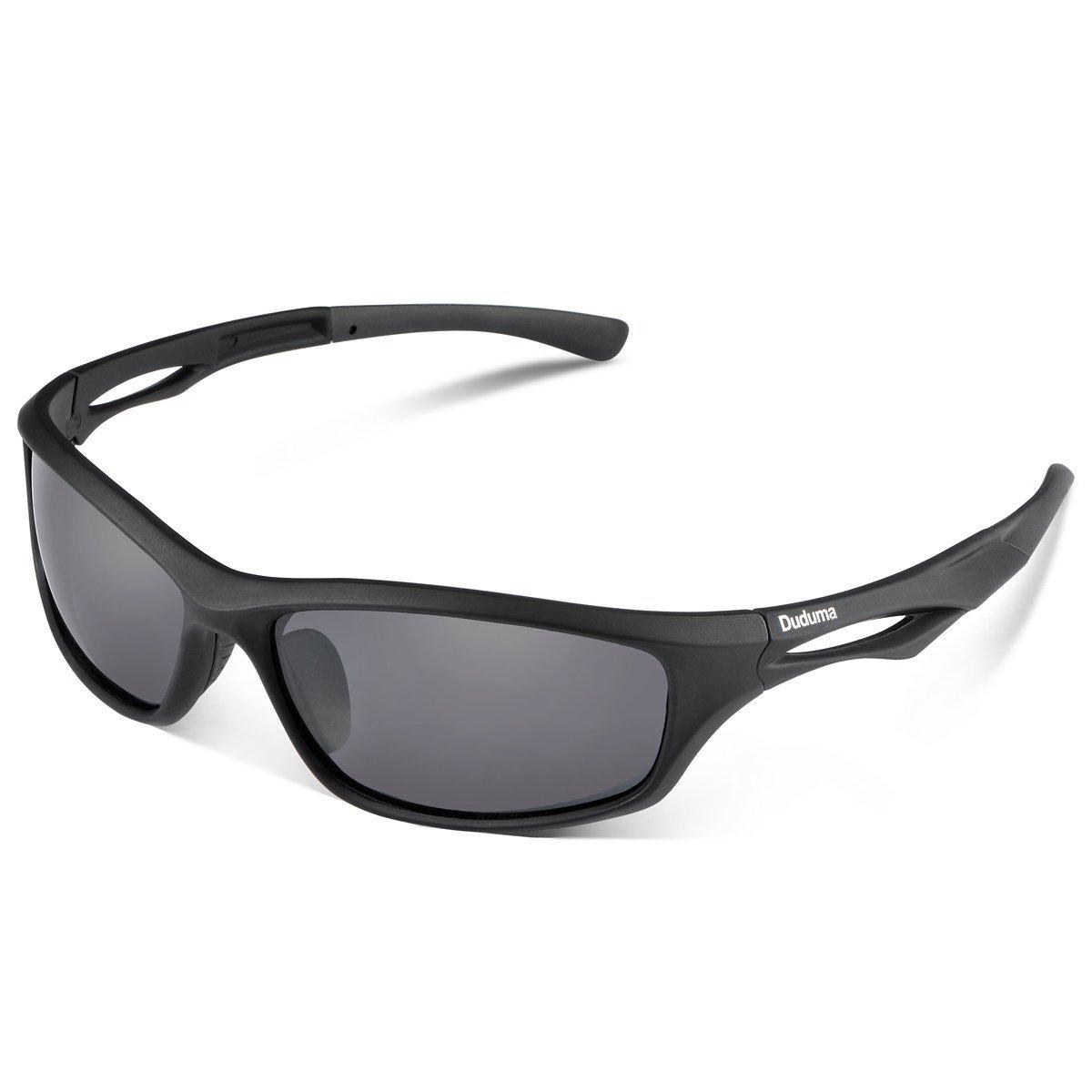 Duduma Polarized Sports Sunglasses for men women Baseball Running Cycling Fishing Golf Tr90 Durable Frame [Black Matte Frame With Black Lens] - $10.99 AC FS