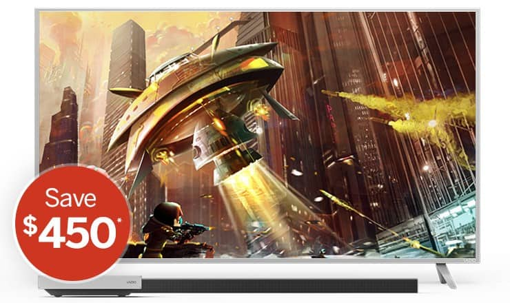Vizio P65 with 45 inch smart cast sound bar for $1,699.98