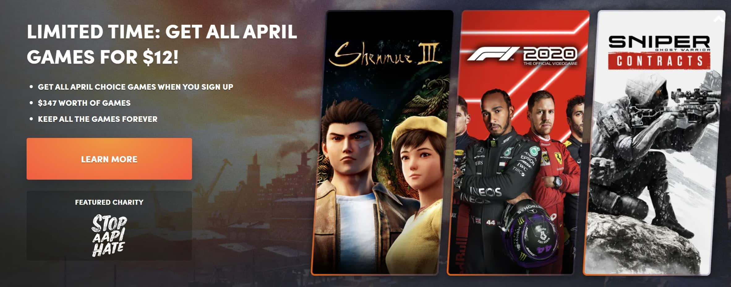 Humble Choice April Bundle: Shenmue III, Sniper Ghost Warrior Contracts, F1® 2020 and more $12+tax @Humble Bundle