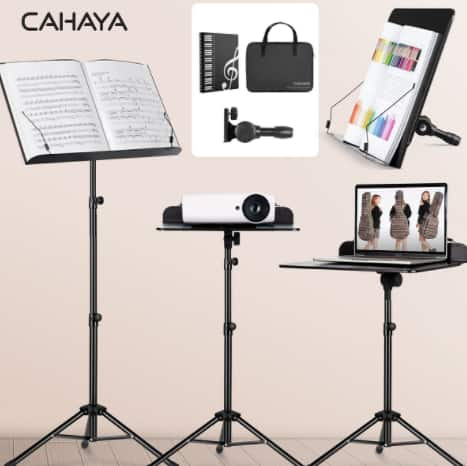 CAHAYA 2 in 1 Sheet Music Stand and Desktop Stand Metal Portable Projector Stand with Carrying Bag and Sheet Music Folder $19.80 @Amazon