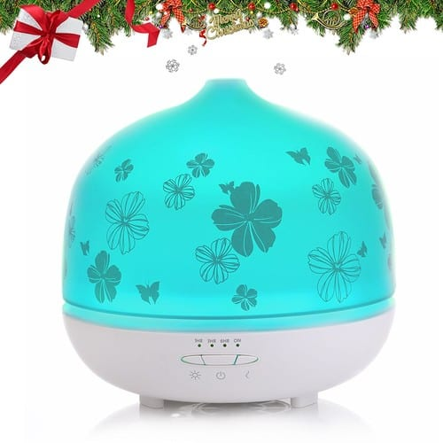 ISELECTOR 500ml Glass Aromatherapy Essential Oil Diffuser with 7 Changing LED Colors and Waterless Auto Shut-off - White Base $27.97