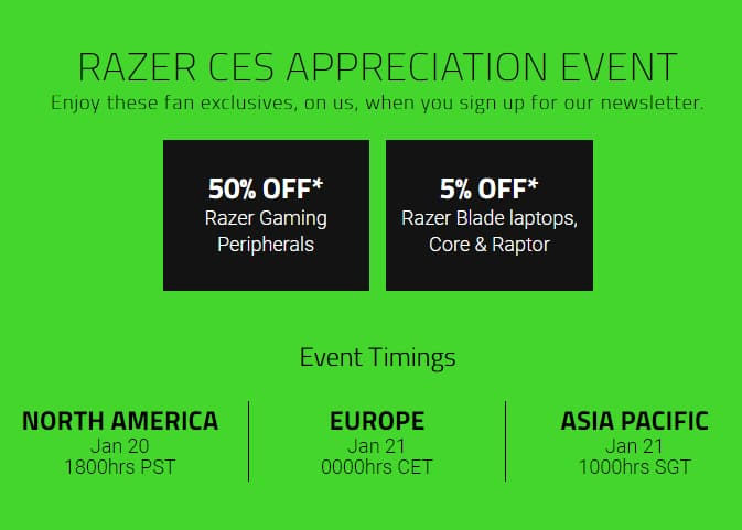 50% off all Razer peripherals and gear on 01/20
