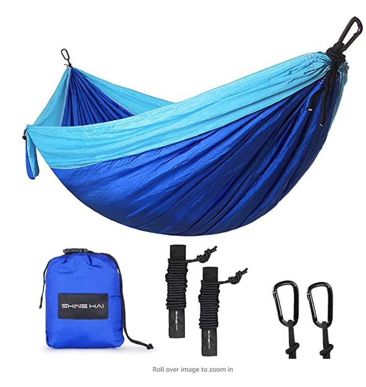 SHINE HAI Double Camping Hammock, Portable Lightweight Parachute Nylon Garden Hammock, Two Persons Bed for Backpacking, Camping, Travel, Beach, Yard, Blue/Green $7.99