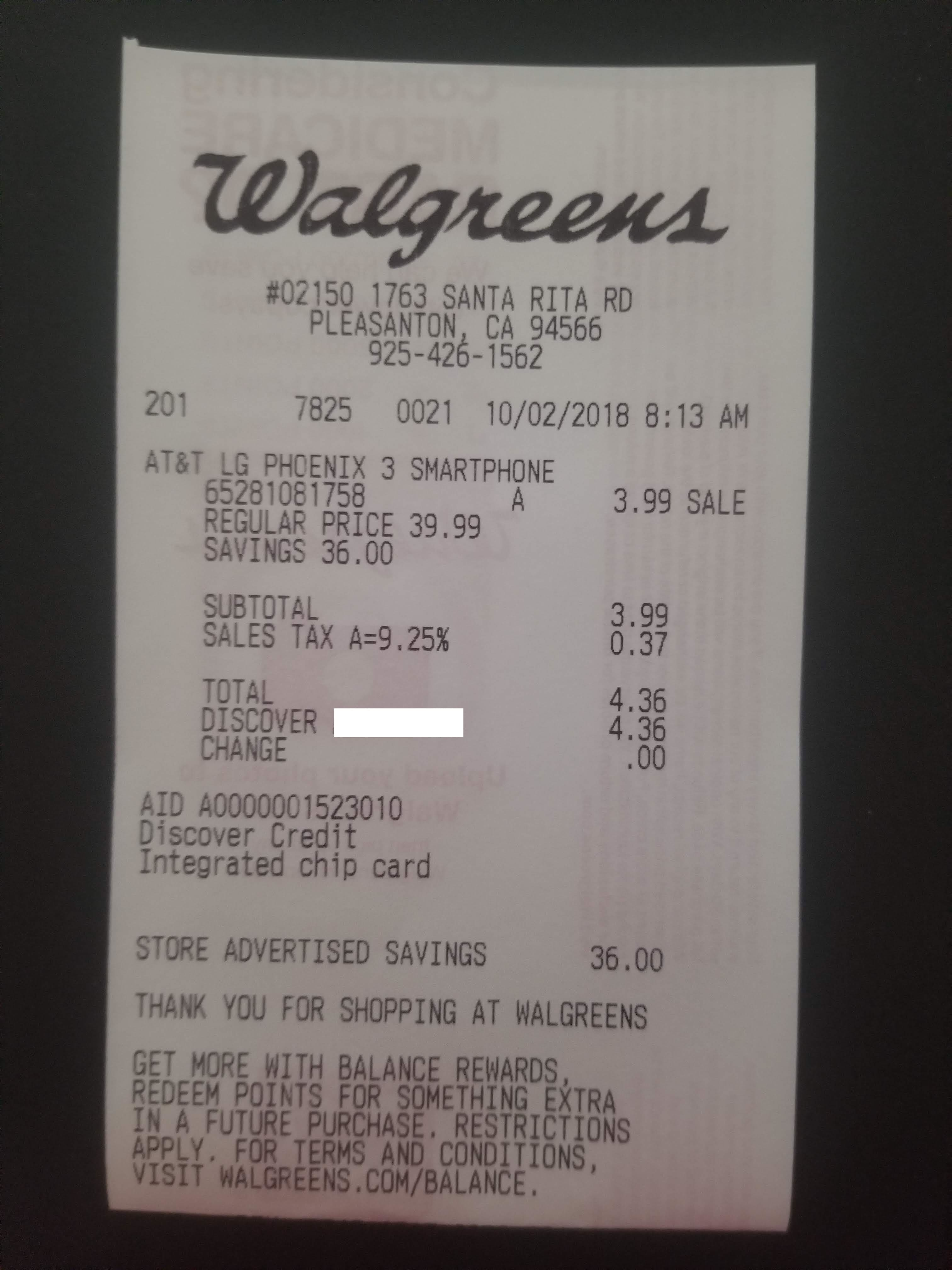 Walgreens Clearance - LG Phoenix 3 4G LTE with 16GB Memory