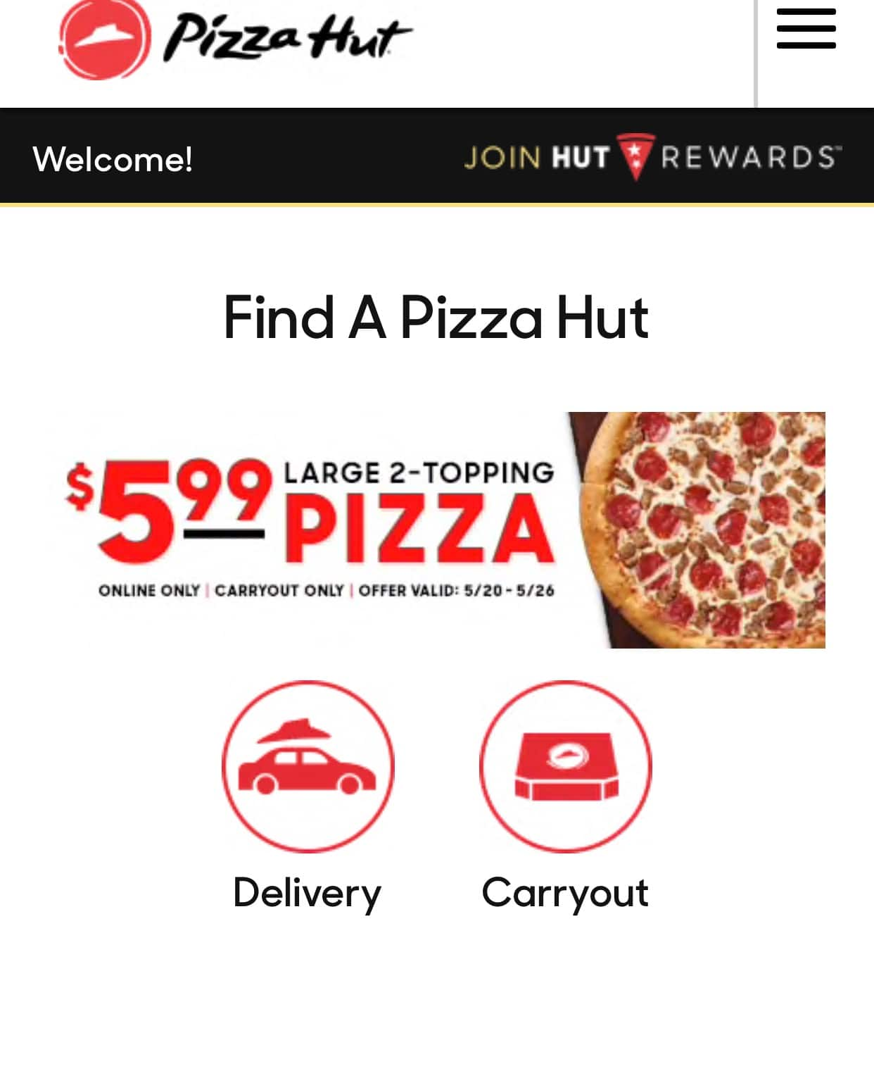 Pizza Hut Large 2 Topping Pizza 5 99 Online Carryout Only Ymmv