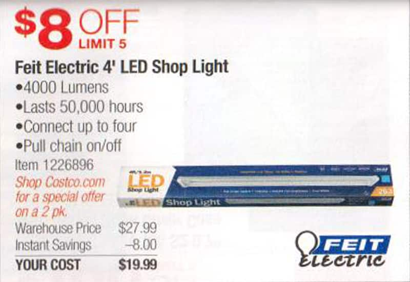 Feit 4' Linkable LED Shop Lights on sale again. ($19.99 each in store or $39.99 on-line 2-Pack)