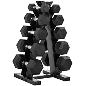 CAP Barbell 150-Pound Dumbbell Set with Rack, Charcoal color only $250.49