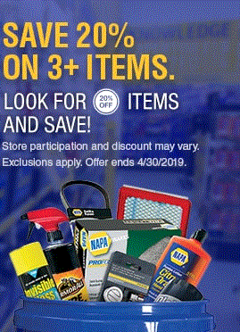 NAPA Auto Parts.  20% off with 3 or more things
