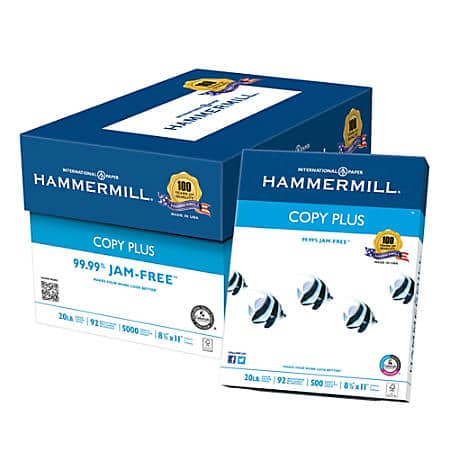 Hammermill Paper Copy Paper 20lb 3 cases 15,000 sheets $50.98 or $16.66 each case