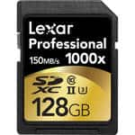Amazon  and B&H Lexar Professional 1000x 128GB SDXC UHS-II/U3 Card w/Image Rescue 5 Software $57.99