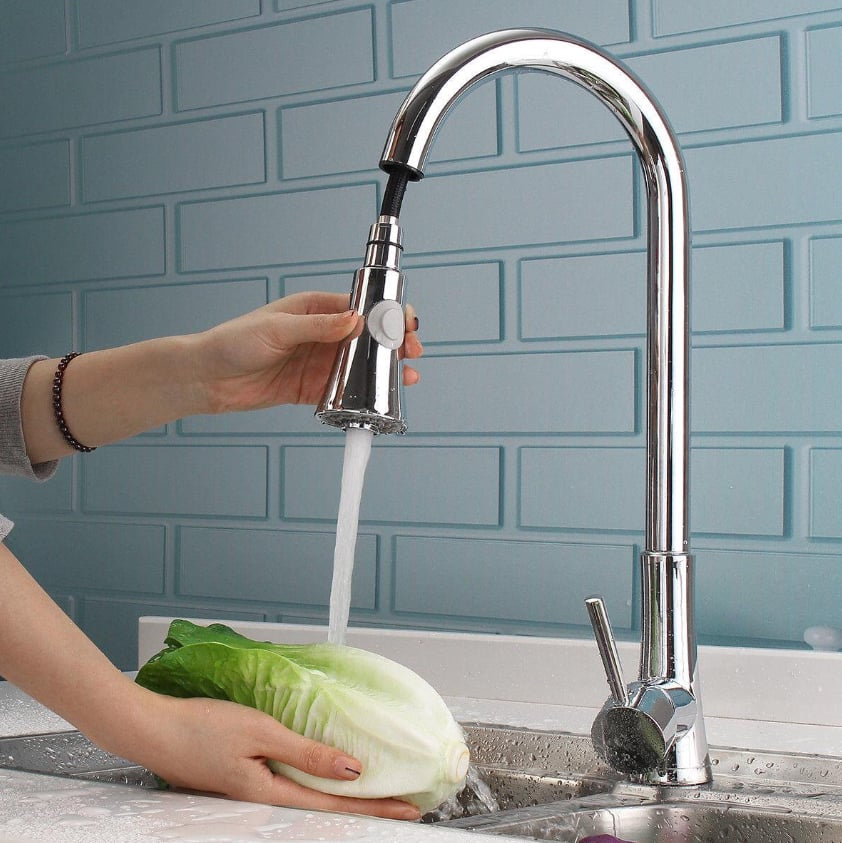Ktaxon Commercial Stainless Steel Single Handle Pull Down Sprayer Kitchen Faucet, Pull Out Kitchen Faucets Brushed Nickel $42.98