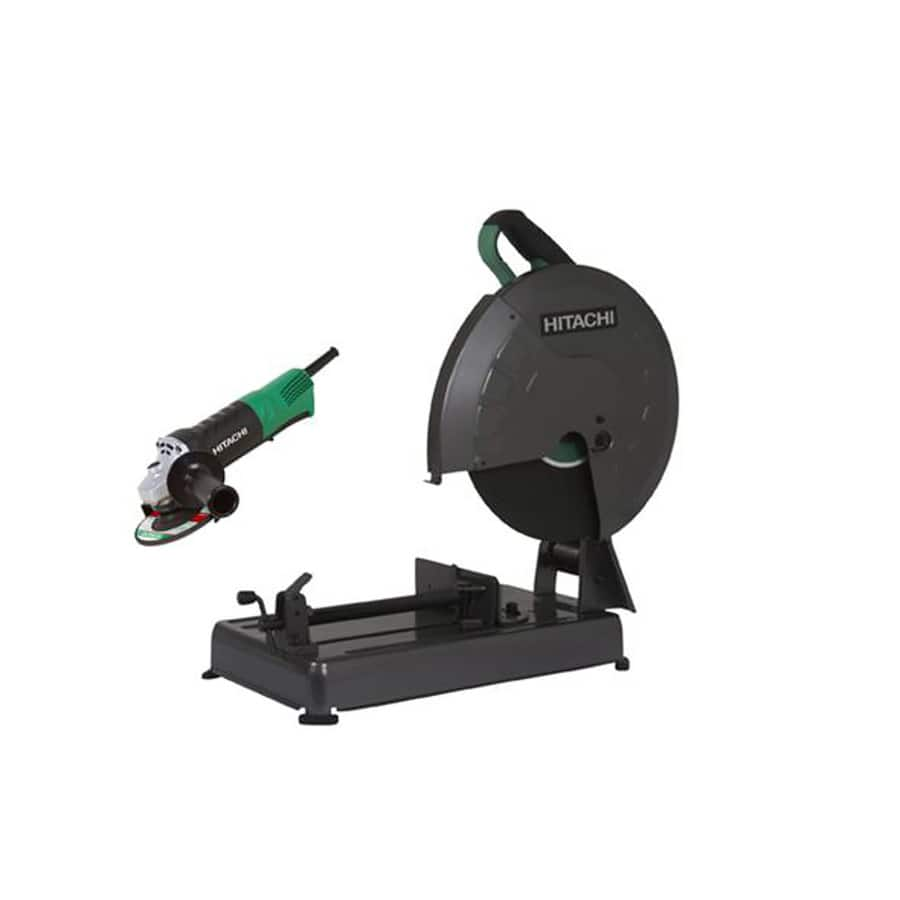 "Hitachi KCC14S2F 14"" Chop Saw & 4-1/2"" Paddle Switch Grinder Combo Kit Lowes Item # 859026 Model # KCC14S2F $149.99"