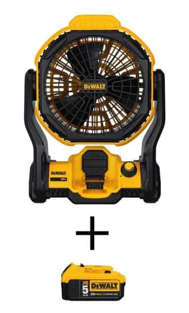 DEWALT 20-Volt MAX Lithium-Ion Cordless and Corded Jobsite Fan with 20-Volt MAX XR Lithium-Ion (1) 5.0Ah Battery $119