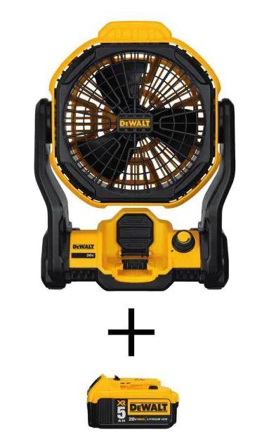 DEWALT 20-Volt Jobsite Fan with a 5.0Ah Battery $119 at Home Depot