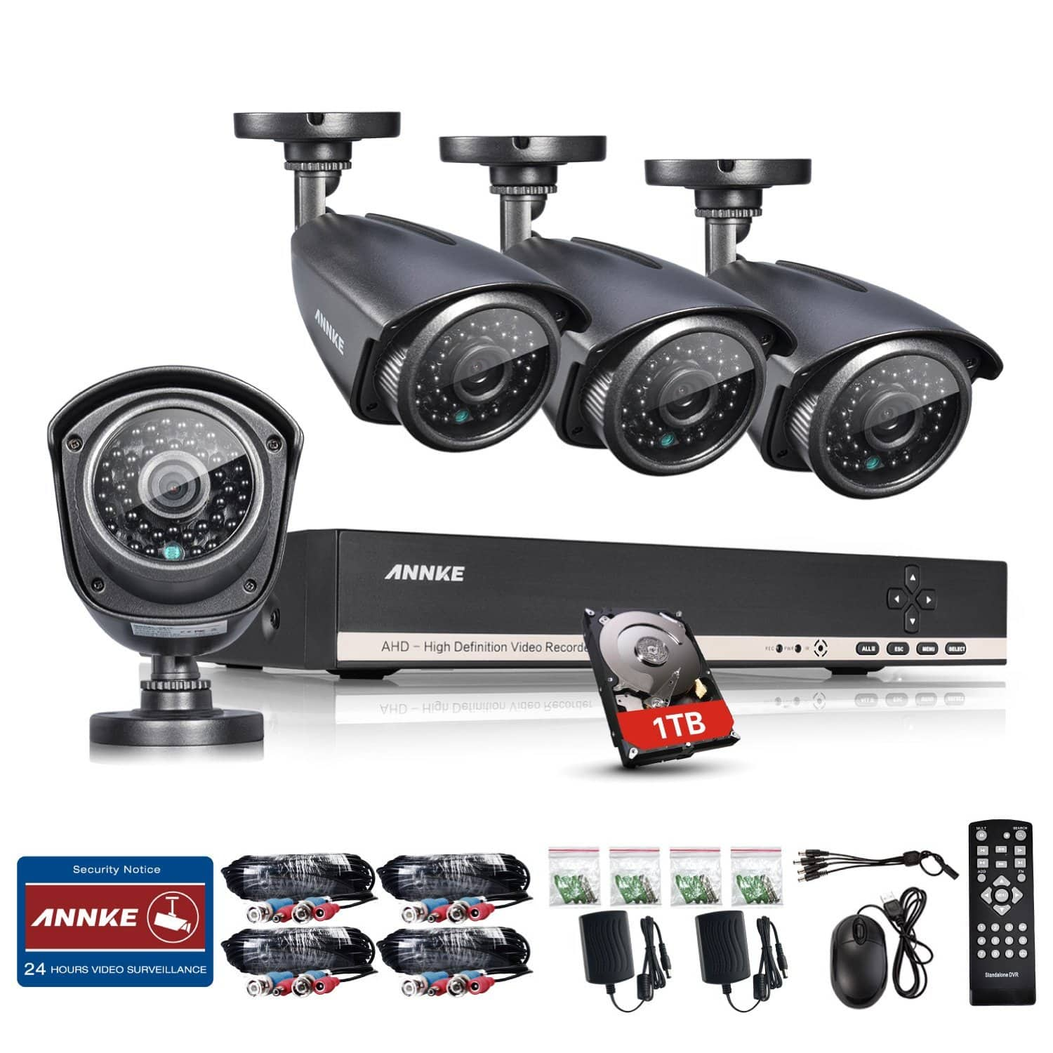 Annke 8CH 1080N 960*1080 Security DVR + 1TB Hard Drive Weatherproof Bullet Cameras Only $169.99 + Free Amazon Shipping