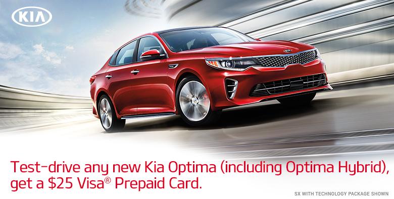 Get $25 Gift Card if you test drive KIA Optima