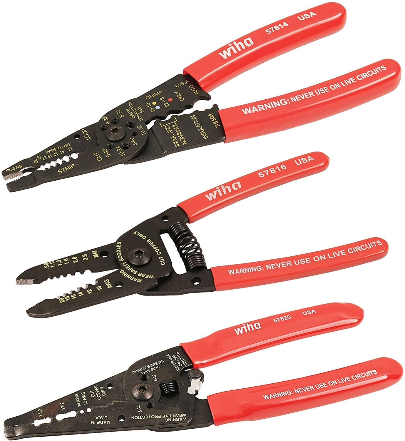 Wiha 57830 Wire Strippers/Crimpers/Pliers Set, 3 Piece. $25.59 $25.58