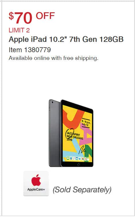 "Apple iPad 10.2"" 7th Gen 128GB for $330 (Active 05/20/20)"