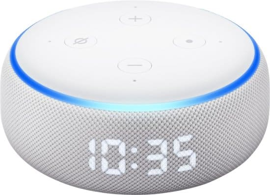 Amazon Echo Dot (3rd Gen) with Clock Sandstone $22