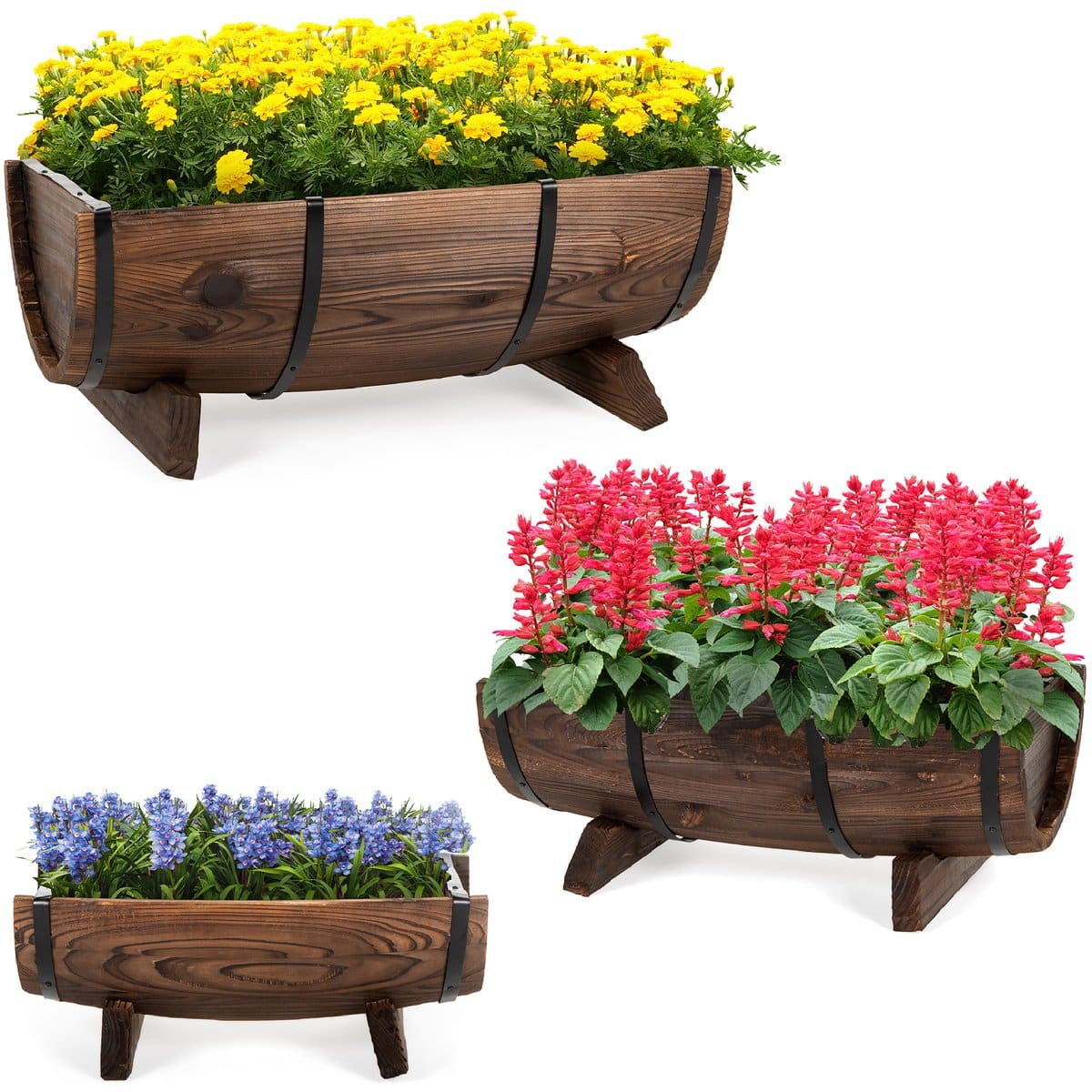 Set of 3 Rustic Wood Half Barrel Garden Planters Set w/ Drainage Hole $69.99 + Free shipping. Best Choice Products