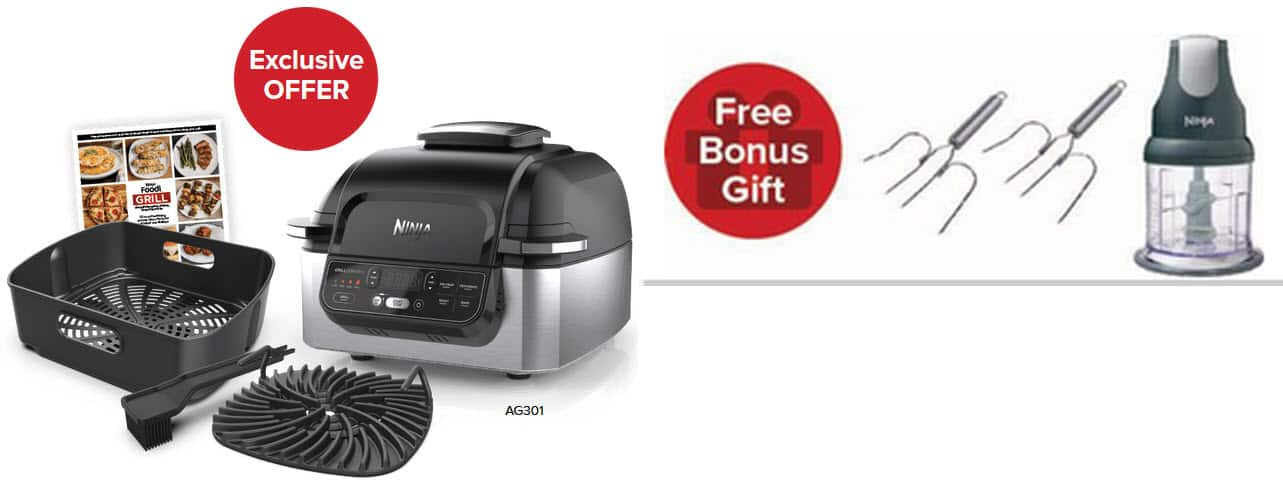 $161.50 Ninja® Foodi™ 5-in-1 Air Fryer 4 - Qt Indoor Grill with Bonus Ninja Express Chop & Roasting Lifters. Free S/H