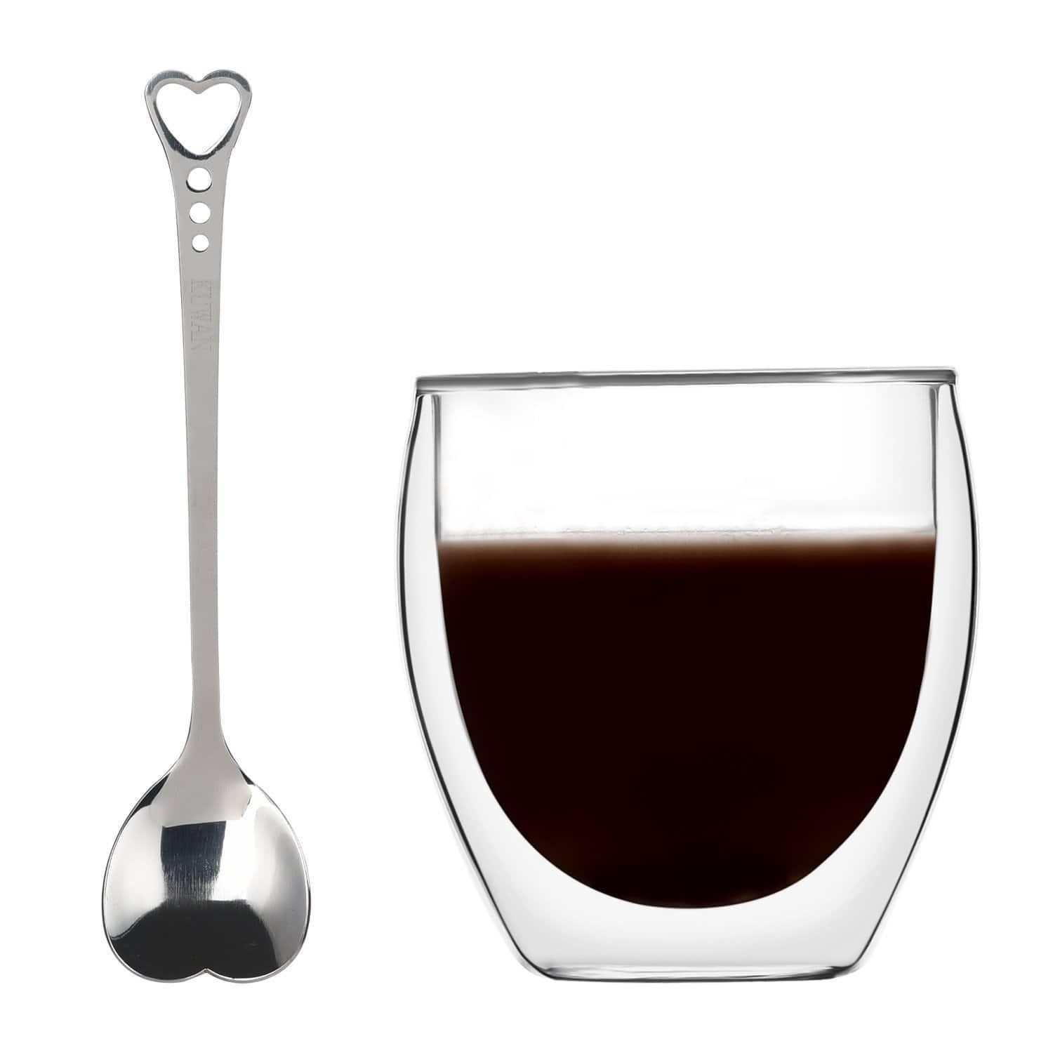 Double-Walled Coffee Cup 8.5 Ounce Espresso Mug Adiabatic Glass with Spoon $5.70 AC @ Amazon