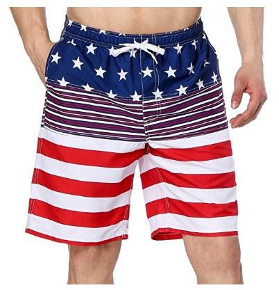 Men's American Flag Printed Board Shorts Swim Trunks $9.99 AC @ Amazon