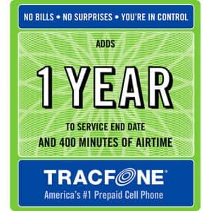 TracFone - 1 Year of Service and 400 Minutes - $75 Shipped