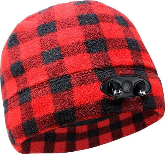 Panther Vision - POWERCAP 35/55 Fleece Beanie - Plaid Red/Black $5.49