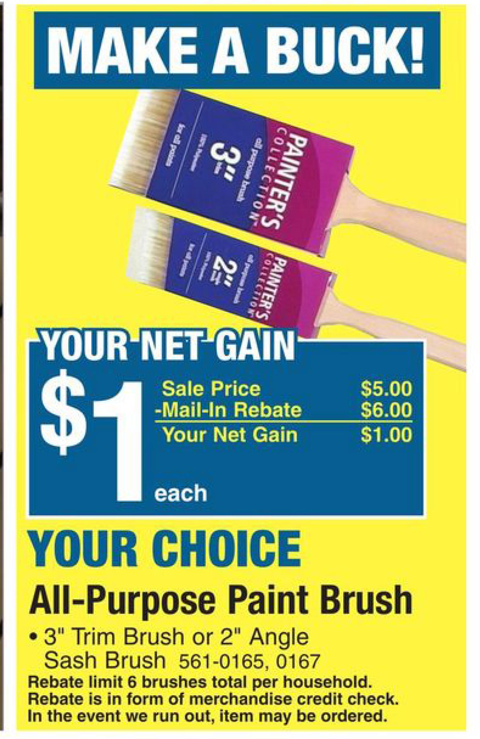 Menards Money Maker Buy A 5 Paintbrush Get A 6