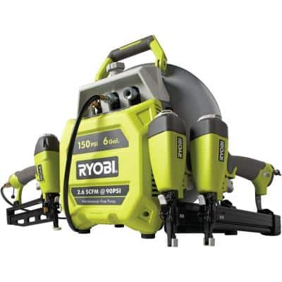 Ryobi 6 Gal. Vertical Pancake Compressor with 3 Nailers Combo Kit, $149 w/free shipping from Home Depot