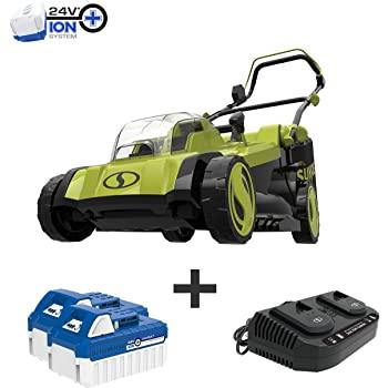 Sun Joe 24V-X2-17LM Mulching Lawn Mower w/Grass Catcher, Kit (w/ 2X 4.0-Ah Battery and Charger) $200