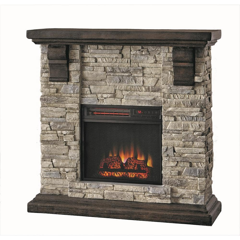 Highland 40 in. Media Console Electric Fireplace TV Stand in Faux Stone Gray Home Depot $129