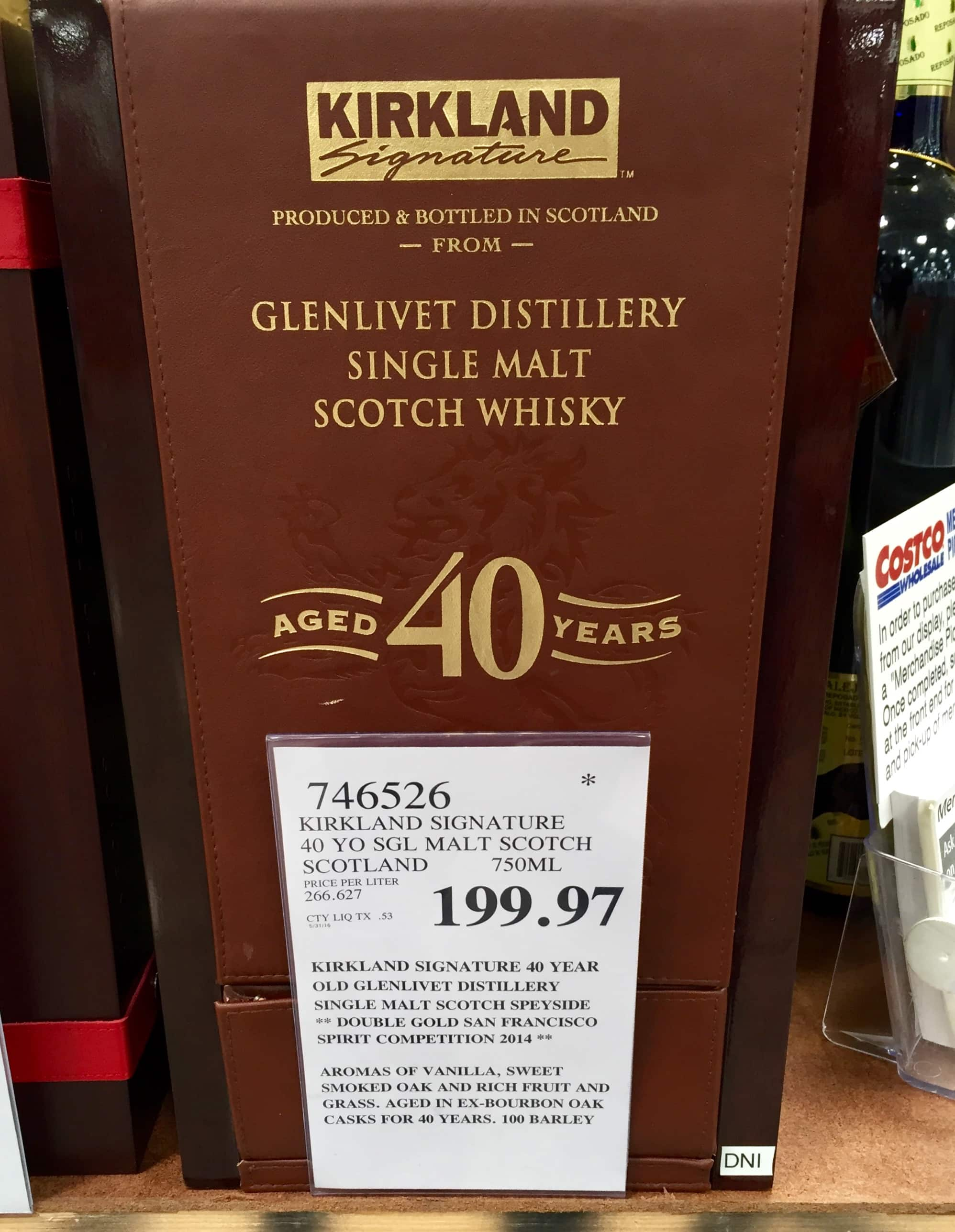 Kirkland Signature™ Glenlivet 40-Year-Old Single Malt Scotch Whisky Costco B&M $199.97 (few states excluded)