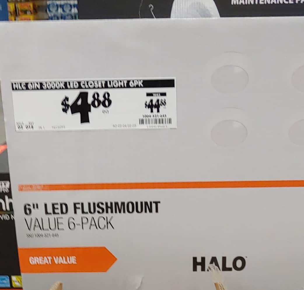 YMMV - Halo HLC 6 in. 3000K Integrated LED Recessed Closet Light Trim (6-Pack) In Store Home Depot $4.88